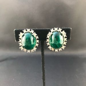 Vintage Marvella green cabochon clip earrings